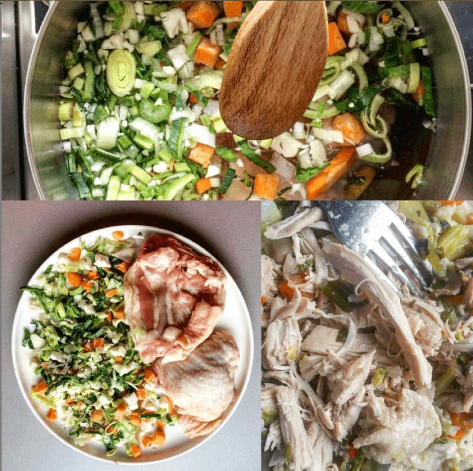 Basisbouillon kip voor ongeveer drie à vier porties bouillon