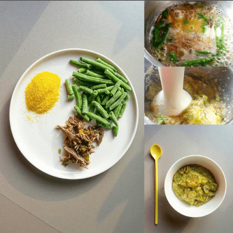 Babyvoeding met polenta sperziebonen en rundvlees